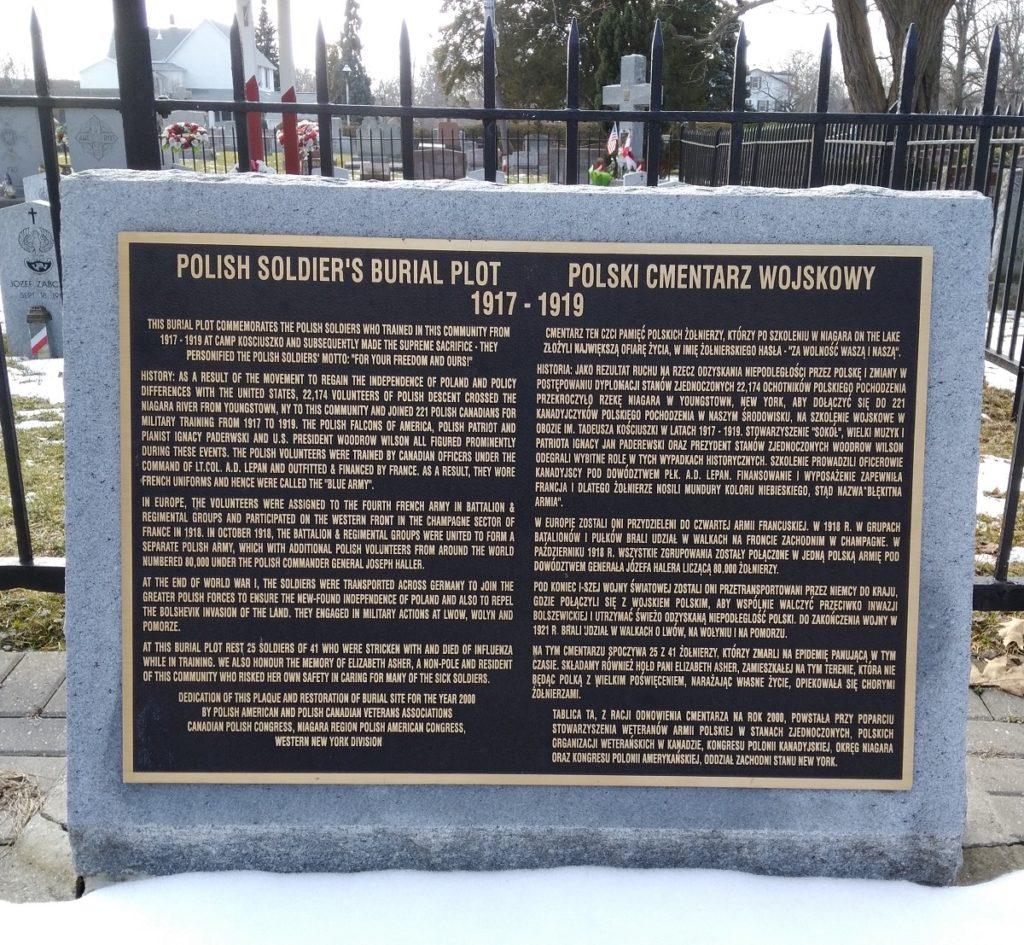 Niagara Polish soldiers burial plot 1917-1919